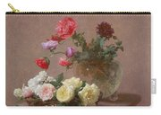 Poppies In A Crystal Vase - Or Basket Of Roses Carry-all Pouch