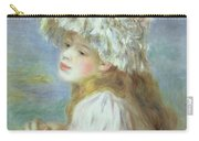 Portrait Of A Young Woman In A Lace Hat Carry-all Pouch by Pierre Auguste  Renoir