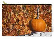 Pumpkin On White Fence Post Carry-all Pouch