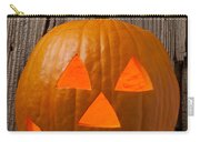 Pumpkin With Wicked Smile Carry-all Pouch