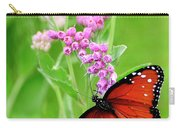 Queen Butterfly And Pink Flowers Carry-all Pouch