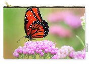 Queen Butterfly Sitting On Pink Flowers Carry-all Pouch
