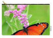 Queen Butterfly Wings With Pink Flowers Carry-all Pouch