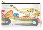 Race Car And Cheetah Cartoon Carry-all Pouch