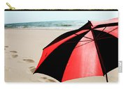 Red And Black Umbrella On The Beach With Footprints Carry-all Pouch