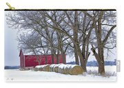 Red Barn In Winter With Hay Bales Carry-all Pouch