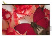 Red Butterfly On Blush Roses Carry-all Pouch
