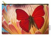 Red Butterfly On Protea Carry-all Pouch