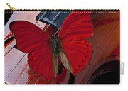 Red Butterfly On Violin Carry-all Pouch by Garry Gay