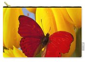 Red Butterful On Yellow Tulips Carry-all Pouch