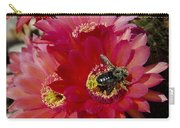 Red Cactus Flower With Bumble Bee Carry-all Pouch