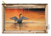 Red Dawn Swan Framed In Old Window Frame Carry-all Pouch
