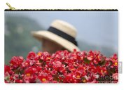 Red Flowers And Straw Hat Carry-all Pouch