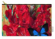 Red Gladiolus And Blue Butterfly Carry-all Pouch