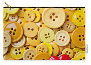 Red Heart And Yellow Buttons Carry-all Pouch