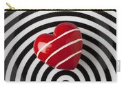 Red Heart On Circle Plate Carry-all Pouch by Garry Gay