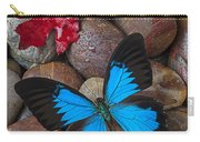Red Leaf And Blue Butterfly Carry-all Pouch