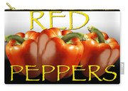 Red Peppers On White And Black Carry-all Pouch