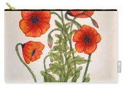 Red Poppies Watercolor Painting Carry-all Pouch