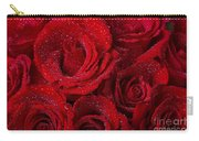 Red Roses And Water Drops Carry-all Pouch