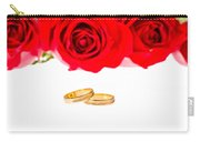Red Roses And Wedding Rings Over White Carry-all Pouch