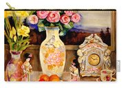 Red Roses Yellow Daffodils In Hand Painted Oriental Antique Vases With Fruit Plate Doves And Angels Carry-all Pouch