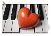 Red Stone Heart On Piano Keys Carry-all Pouch