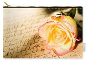 Red Yellow Rose Over A Hand Written Letter Carry-all Pouch