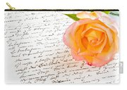 Red Yellow Rose Over A Hand Written Love Letter Carry-all Pouch