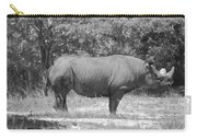 Rhino In Black And White Carry-all Pouch