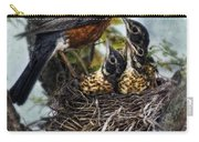 Robin And Babies In Nest Carry-all Pouch
