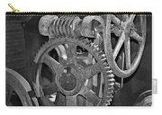 Rust Gears And Wheels Black And White Carry-all Pouch