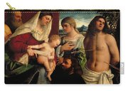 Sacra Conversatione With Ss Catherine Sebastian And Holy Family Carry-all Pouch