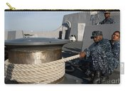 Sailors Handle Mooring Lines Aboard Uss Carry-all Pouch