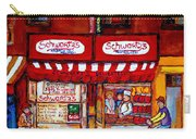 Schwartz's Deli-montreal Street Scenes-painting-by  Quebec Artist-carole Spandau Carry-all Pouch