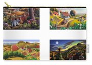 seasonal farm country folk art-set of 4 farms prints amricana American Americana print series Carry-all Pouch