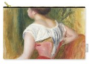 Seated Young Woman Carry-all Pouch by Pierre Auguste Renoir