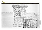 Sentry Tower Castillo San Felipe Del Morro Fortress San Juan Puerto Rico Line Art Black And White Carry-all Pouch by Shawn O'Brien