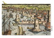 Seville: Departure, 1594. /ndeparture For The New World From Sanlucar De Barrameda, The Port Of Seville, Spain. Line Engraving, 1594, By Theodor De Bry Carry-all Pouch