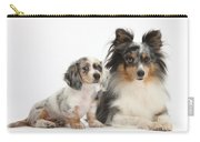 Shetland Sheepdog And Dachshund Puppy Carry-all Pouch