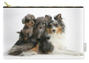 Shetland Sheepdog With Puppies Carry-all Pouch