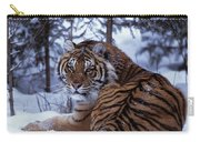 Siberian Tiger Lying On Mound Of Snow Carry-all Pouch