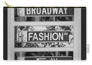 Signs Of New York In Black And White Carry-all Pouch by Rob Hans
