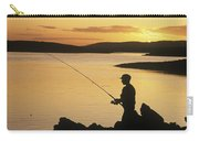 Silhouette Of A Fisherman Fishing On Carry-all Pouch