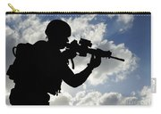Silhouette Of A Soldier Carry-all Pouch