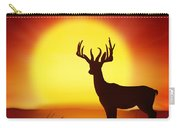 Silhouette Of Deer With Big Sun Carry-all Pouch
