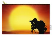 Silhouette Of Photographer With Big Sun  Carry-all Pouch
