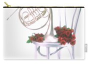 Silver French Horn On Silver Chair Carry-all Pouch