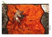 Silver Metal Flower On Orange Carry-all Pouch