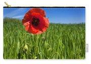Single Poppy Flower  In A Field Of Wheat Carry-all Pouch